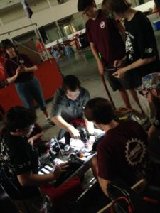 Dreadbots help team 313 with wiring their robot