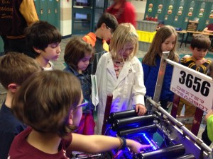 kids touching our robot