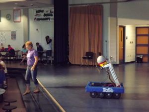 Mrs. Bronson with our robot.