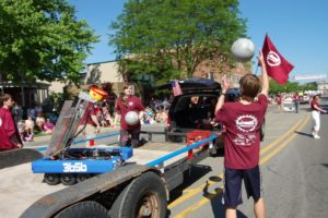 robot tossing ball during parade