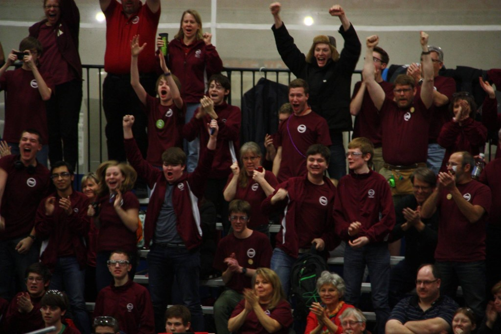 Our team cheering in the stands