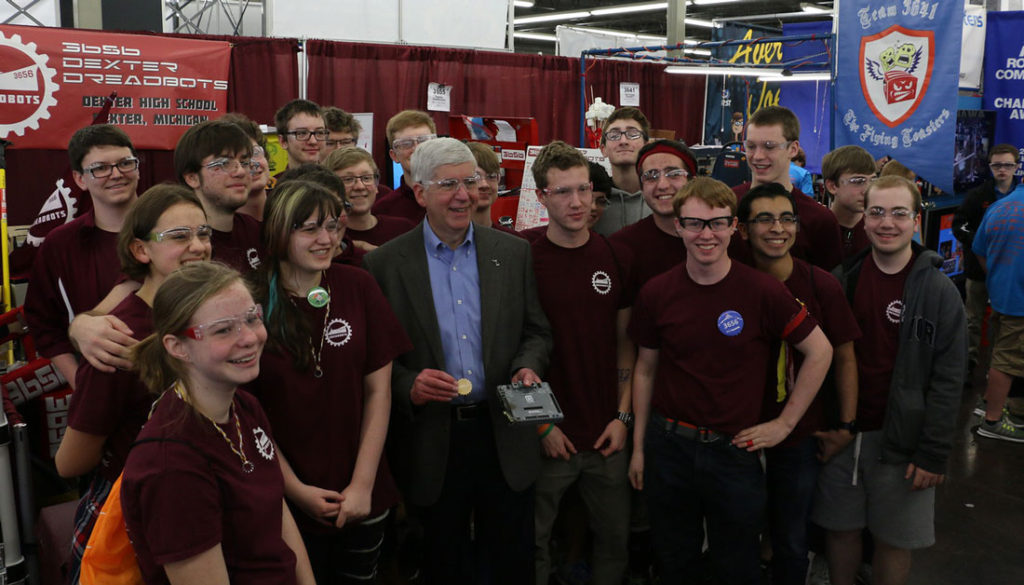 Our team at the Michigan State Championship in April 2016 with Governor Rick Snyder
