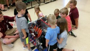 Campers looking at our robot