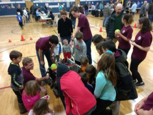 Dreadbots talking to kids and parents about our robot