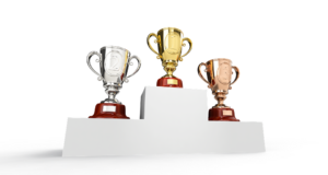 first, second and third place trophies