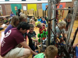 kids get an up close look at our robot