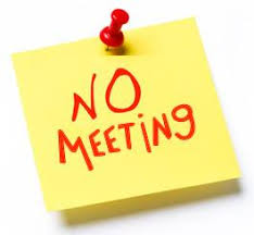 """""""No meeting"""" written on a post-it note"""